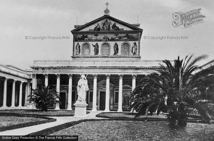 Photo of Rome, Basilica Of St Paul Outside The Walls, Façade And St Paul's Statue c.1930