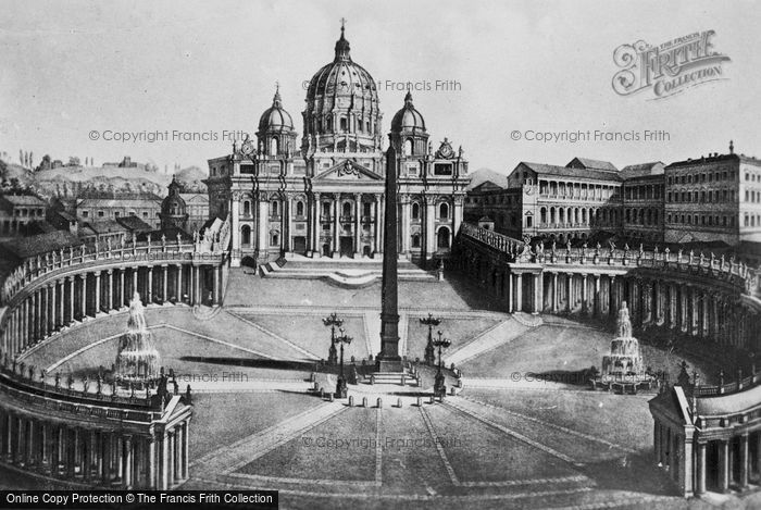 Photo of Rome, Piazza And Papal Basilica Of St Peter c.1930