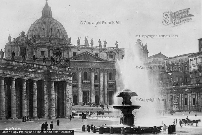 Photo of Rome, Piazza San Pietro And Madero's Fountain c.1930