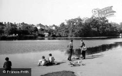 Boys Fishing In Raphael Park Lake c.1950, Romford