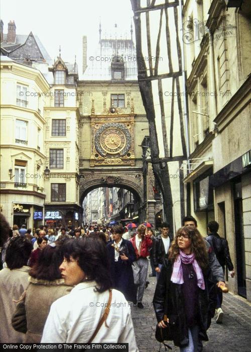 Photo of Rouen, Rue Du Gros Horloge, The Clock Tower 1983