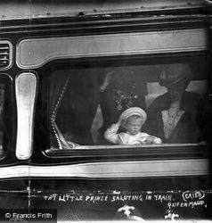 Queen Maud And The Little Prince Saluting In Train 1906, Royalty