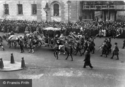 The State Coach With Their Majesties, Parliament Street 1908, Royalty