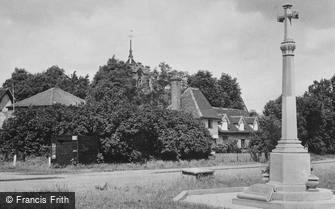 Roydon, War Memorial, Church and Stocks c1955