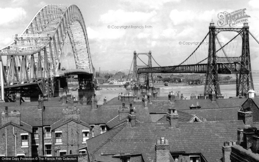 Runcorn, Runcorn Bridge and the Transporter Bridge c1961