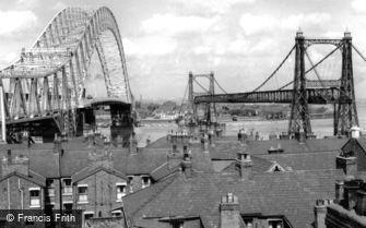 Runcorn, Runcorn Bridge and the Transporter Bridge c1961