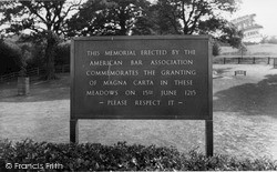 Runnymede, Magna Carta Memorial c.1960