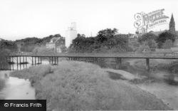 The River, Mill And Railway Bridge c.1960, Ruswarp