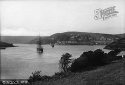 Salcombe, General View With Ship 1890