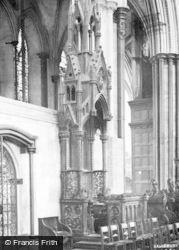 Salisbury, Cathedral Choir, Bishop's Throne 1914