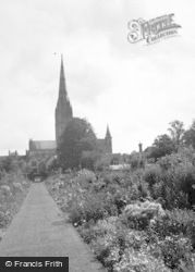 Salisbury, Cathedral From Gardens c.1950