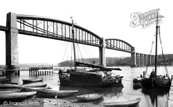 Saltash, Royal Albert Bridge And Tamar Barges 1890