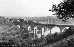 Saltash, The Coombe Viaduct And Royal Albert Bridge c.1955