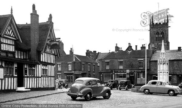 Photo of Sandbach, The Black Bear Inn And Market Place c.1955