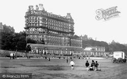 Scarborough, Sands And Grand Hotel 1890