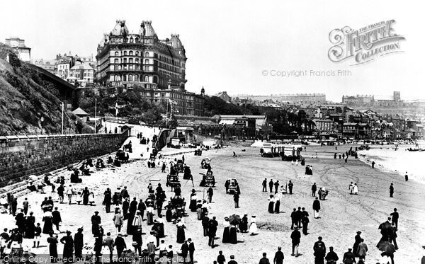Photo of Scarborough, The Sands And The Grand Hotel 1897