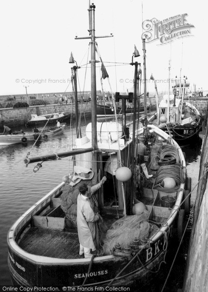 Photo of Seahouses, Fishing Boat In The Harbour c.1965