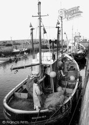 Fishing Boat In The Harbour c.1965, Seahouses