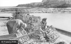 Mending The Lobser Pots c.1955, Seahouses