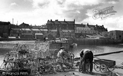 Mending The Lobster Pots c.1965, Seahouses