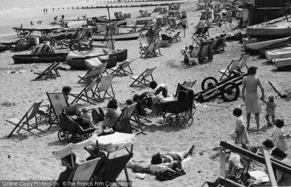 Shanklin, Deckchairs On The Beach  c.1950
