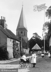 Shere, St James's Church And Girl With Perambulator 1903