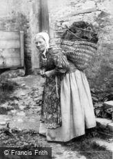 Shetland, Lady carrying Peat c1890