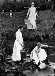 Shottery, Girls Collecting Water, Shottery Brook c.1890
