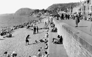 Sidmouth, Beach And Esplanade Looking West c.1955