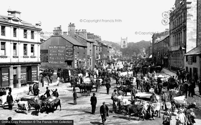 Skipton, Cattle Market In The High Street 1900