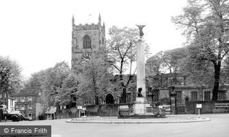 Skipton, Holy Trinity Church and War Memorial c1955