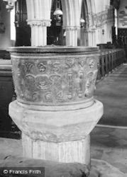 Slimbridge, Lead Font In Church Of St John The Evangelist 1914