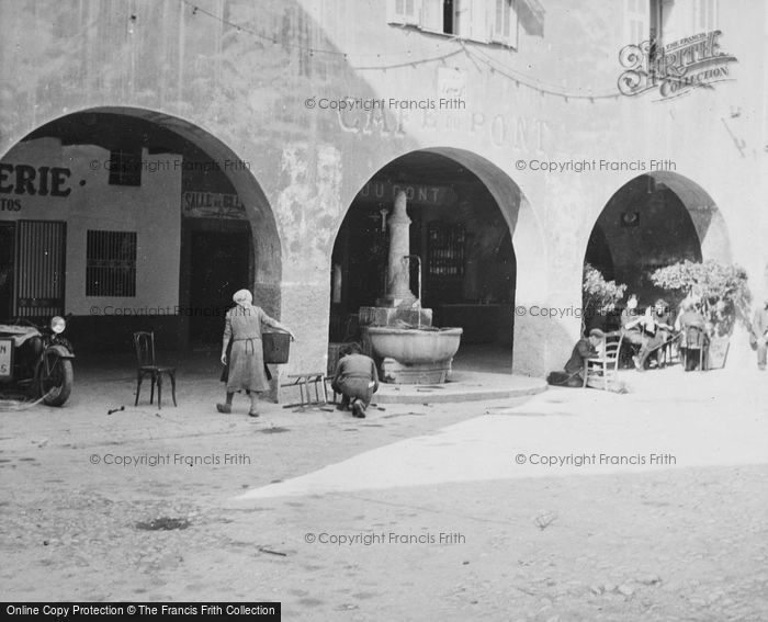 Photo of Sospel, Fountain And Cafe Du Pont c.1939