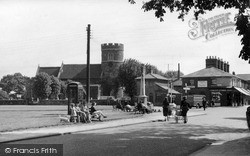 South Ockendon, The Green And St Nicholas Church c.1955