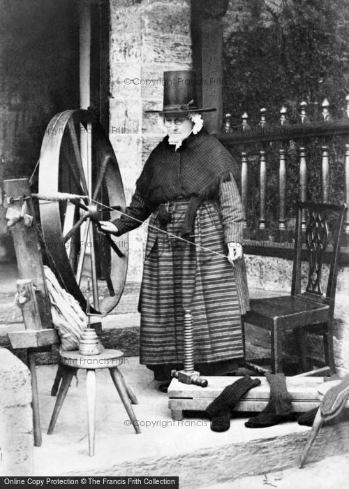 Photo of A Welsh Lady Spinning c.1863