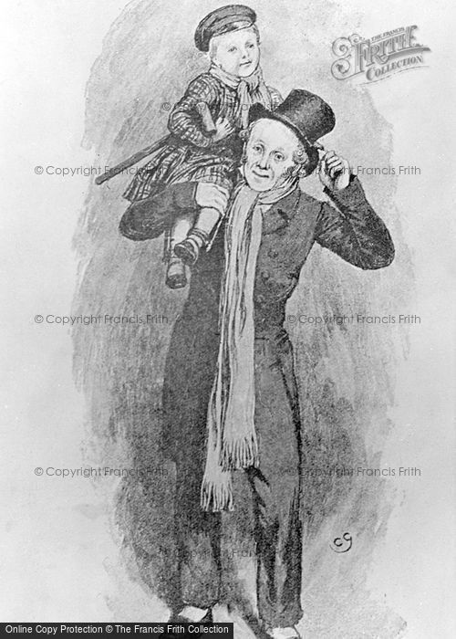 Photo of Bob Cratchit And Tiny Tim From 'a Christmas Carol' c.1880