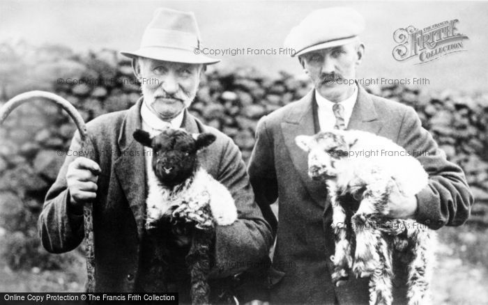 Photo of Cumbrian Shepherds With Lambs c.1900