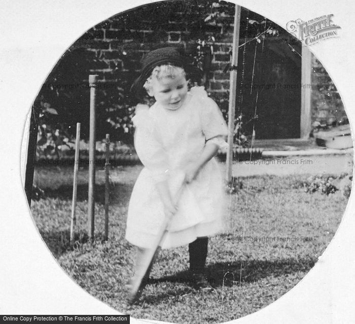 Photo of Little Girl Playing Cricket c.1912