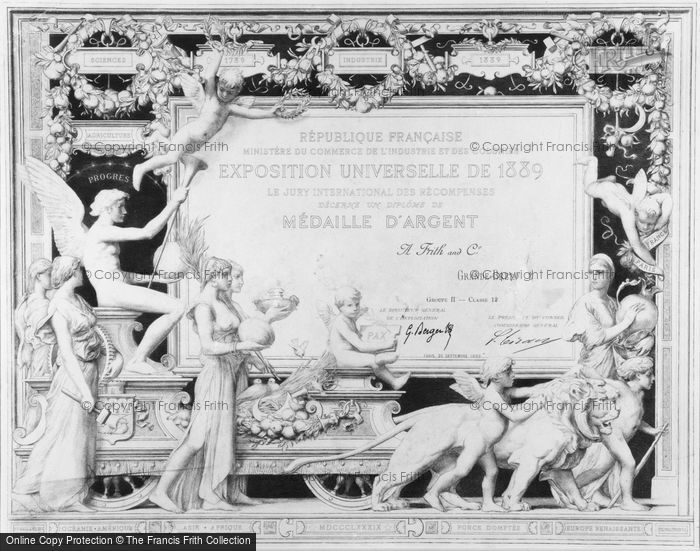 Photo of Silver Medal Awarded To Frith & Co, Paris Exposition Universelle 1889