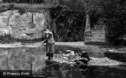 Sproughton, Man and Boy fishing c1955