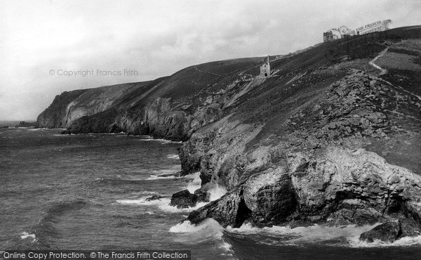 Photo of St Agnes, Cliffs And Old Wheal Coates Mine At Chapel Porth c.1955
