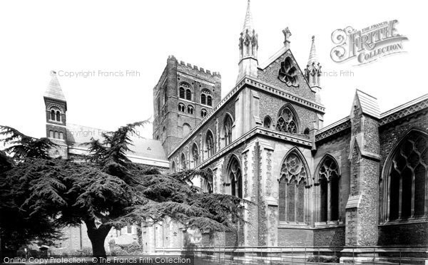 Photo of St Albans, Cathedral And Abbey Church And Cedar Tree 1921