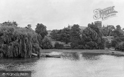 St Albans, Cathedral And Abbey Church From The Lake c.1955