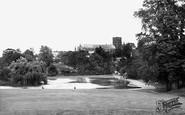 St Albans, the Abbey from Verulamium Park c1955