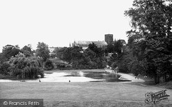 St Albans, Cathedral And Abbey Church From Verulamium Park c.1955