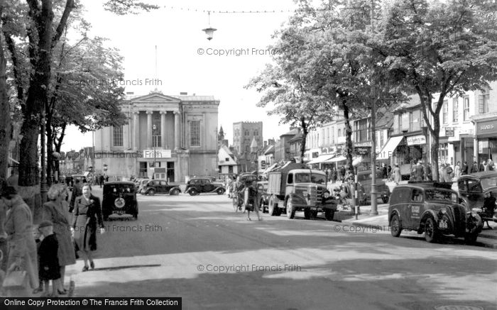 Photo of St Albans, Town Hall and Market Place c1959, ref. S2161a