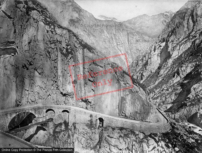 Photo of St Gotthard Pass, Schollinen Defile c.1860