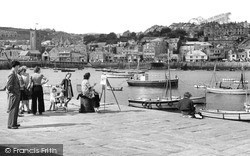 St Ives, Artist by the Harbour c1947