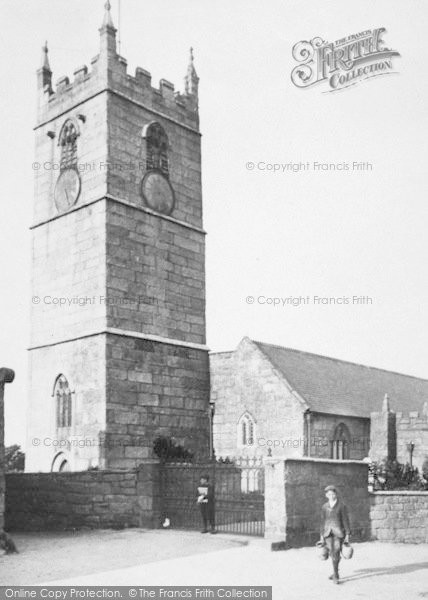 Photo of St Just In Penwith, Boys By The Church 1908