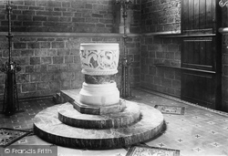 Ancient  Font In St Mary's Church 1912, St Marychurch